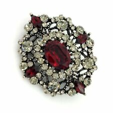Dome Art Deco Brooch Oval Pins Edwardian Antique Foliate Filigree Dark Red Stone