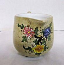 Vintage Handpainted Gubbio Italian Pitcher Floral Design, Brushed Glaze, Signed