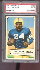 1954 Bowman #105 Veryl Switzer PSA 7 Graded Football Card NM Green Bay Packers
