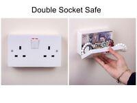 Imitation Double UK Plug Socket Wall Safe Security Secret Hidden Stash Box White