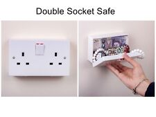 Imitation Double UK Plug Socket Wall Safe Security Secret Hidden Stash Box White