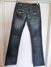 dac8955be8e Womens Rock   Roll Cowgirl Low Rise Distressed Bling Blue Jeans Sz 26 x 34
