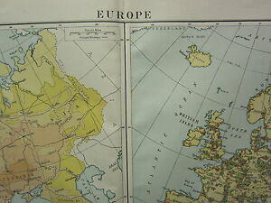 1919 LARGE MAP ~ EUROPE ~ DENSITY OF POPULATION MANUFACTURES MINERALS VEGETATION