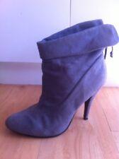 Ladies Grey ROC BOOTS AUS Size 9 EU 40 Faux Suede Heels Ankle