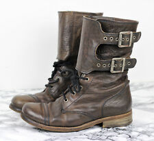 ALL SAINTS Brown Leather DAMISI Military Combat Ankle Boots, Size EU 36 / UK 3
