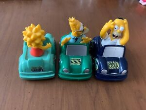 RED ROOSTER The Simpsons Pull Back Bumper Bounce Car Lot of 3 Toy Meal Collector