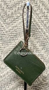 Kate Spade Leila Leather Small Card Key Ring ID Wristlet Wallet L Zip Evergreen