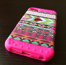 iPod Touch 5th 6th Gen HARD&SOFT RUBBER HYBRID ARMOR SKIN CASE PINK AZTEC TRIBAL