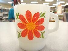 VINTAGE Fire King White Milk Glass Flower Mugs RED Yellow FLOWERS  EXCELLENT