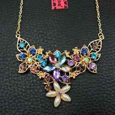 Betsey Johnson Colorful Enamel Crystal Flower Pendant Chain Necklace