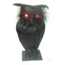 Black Owl Lighted  & Scary Sounds Haunted House Halloween Party Prop