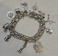 Vintage Sterling Silver Charm Bracelet with Eleven (11) Charms