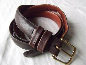 vtg Coach leather belt 36 skinny narrow gold brass buckle 2 double loop DISTRESS