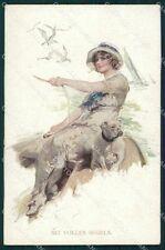 Bennett Lady Sea Bulldog dog MM Wien 1114 postcard cartolina QT6985