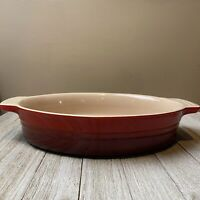 "Le Creuset 11"" Oval Baking Dish with Handles Casserole (Cherry Red) Cerise EUC"