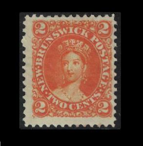 canada stamps - new brunswick - 1863 2c deep orange - sg10 - mint - chalon head