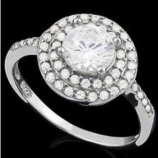 DIAMOND HALO ENGAGEMENT RING SILVER WHITE GOLD LOOK GENUINE  F- IF  1.70 CWT