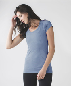 Lululemon Size 10 Swiftly Tech Short Sleeve Scoop Gray Blue