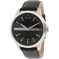 Armani Exchange Men's AX2101 Black Leather Japanese Quartz Dress Watch