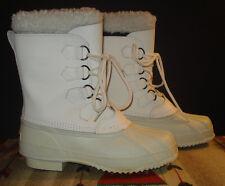 Polaris White Leather Furry Top Wool Felt Liner Winter Boots Sz. 10 EXCELLENT!