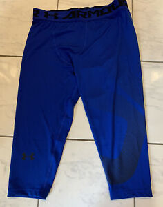 Men's UNDER ARMOUR HeatGear 3/4 Compression Tights Blue 1345702 400 Size 2XL