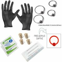 Ear Piercing Kit Includes 20g Earrings Needles,Corks,Alcohol Wipes Gloves 15pc