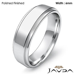 Men's Wedding Plain Band Flat Step Solid Ring 6mm 14k White Gold 7.7g 12-12.75