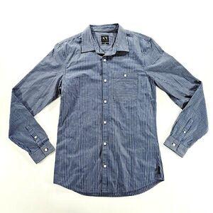 ARMANI EXHANGE Mens Blue Long Sleeve Striped Dress Shirt Size Medium