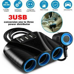 3Way 12V 24v Car Cigarette Lighter Socket Splitter 3USB Charger Power Adapter st