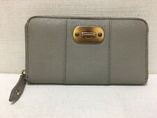 BURBERRY - Beige Textured Calf Leather - Zip-Around Long Wallet