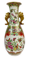Antique Famille Rose Canton Chinese Export Double Handled Porcelain Vase 19c