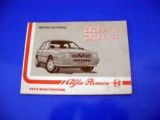 Alfa Romeo 33 1.7 IE e 1.7 Q.V. Libretto Uso e Manutenzione 1988