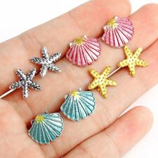 Women's 4Pairs/Set Gold/Silver Plated Starfish/Scallop Shell Stud Earrings Gifts
