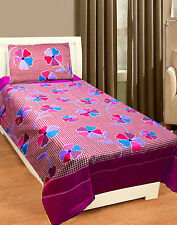 Homefab India 3D Printed PolyCotton Single Bed-Sheet (Single196)