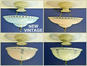 "Semi Flush Mount VINTAGE Glass Blue Pink Ivory NEW 10"" 11"" Harp Light Fixtures"