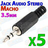 5x Conector MINI JACK Audio MACHO 3,5mm estereo aereo 3.5mm carcasa soldar