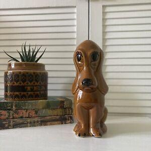 Vintage Ceramic Droopy Dog Money Box 1960's/ 1970s Retro Ornament Brown Glaze