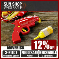100% Genuine! MAVERICK 3 Piece Condiment Gun Set with 2 Cartridges! RRP $24.95!