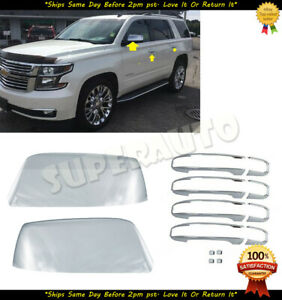 For 2015-2018 Chevrolet Tahoe Suburban Yukon Chrome Mirror+LTZ Handle Trim Cover