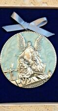 """GUARDIAN ANGEL CRIB Pewter/Enamel MEDAL 2.75"" Round BLUE MEDAL""  GIFT BOX *NEW*"
