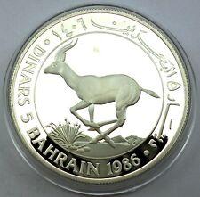 Bahrain 5 Dinars 1986 Silver coin proof World Wildlife Fund Arabian Oryx (T117)