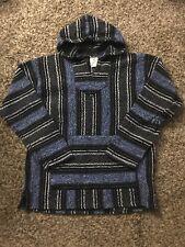 Franks Textiles XXL Baja Hoodie Blue Black Mexican Surfer Poncho Sweater Skater