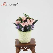 Dollhouse 1:12 Scale Miniature Potted plants Pink Ikebana&Basket 10179