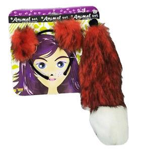 Adult Fox Animal Headband Ears & Tail Dress Up Cosplay Costume Accessory Set NEW