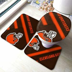 Cleveland Browns Bathroom Rugs 3PCS Toilet Lid Cover Mats Non-Slip Foot Mats Set
