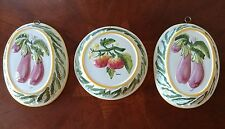 VTG Set of 3 ABC Bassano Ceramiche Ceramic Fruit Jello Molds Wall Art - Italy