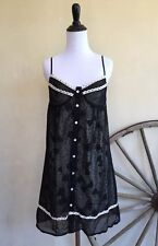 IRON FIST Sheer Polka Dot Skull Bow Bustier Button Down Spaghetti Strap Dress L