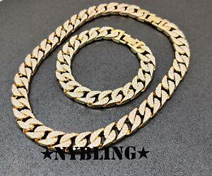COMBO SET Miami Cuban Choker Chain Necklace & Bracelet Mens Hip Hop Jewelry
