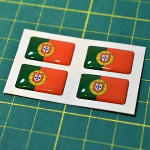 4x Portugal Flag Domed Stickers - High Gloss Raised Finish Portuguese flag