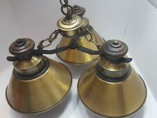 Vintage Chandelier 3 ARM Light Ceiling Fixture Wood & Antique Brass GLOBE GLASS